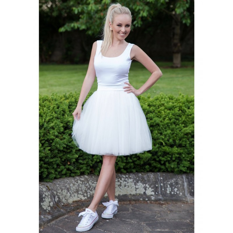 Oboustranná tutu sukně bílá